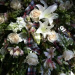 Mocha Violet Funeral Flowers Example
